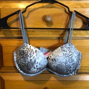 """Pink grey """"snake skin"""" heartbreaker plunge bra"""